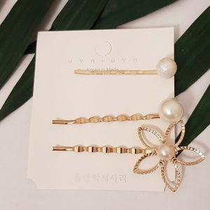 Gold & Pearl Bobby Pin Hair Clip Set